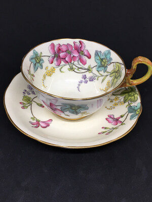 Aynsley Ivory with Mallow Blossoms Teacup