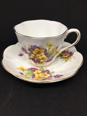 Salisbury '1995' Yellow And Purple Flower Tea Cup