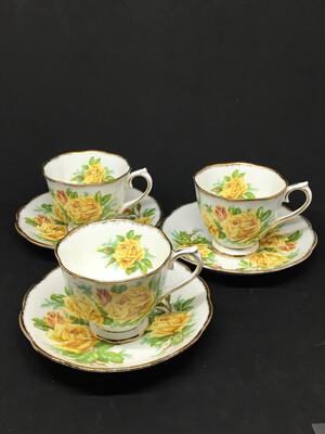 Set of 3 Royal Albert Yellow 'Tea Rose'