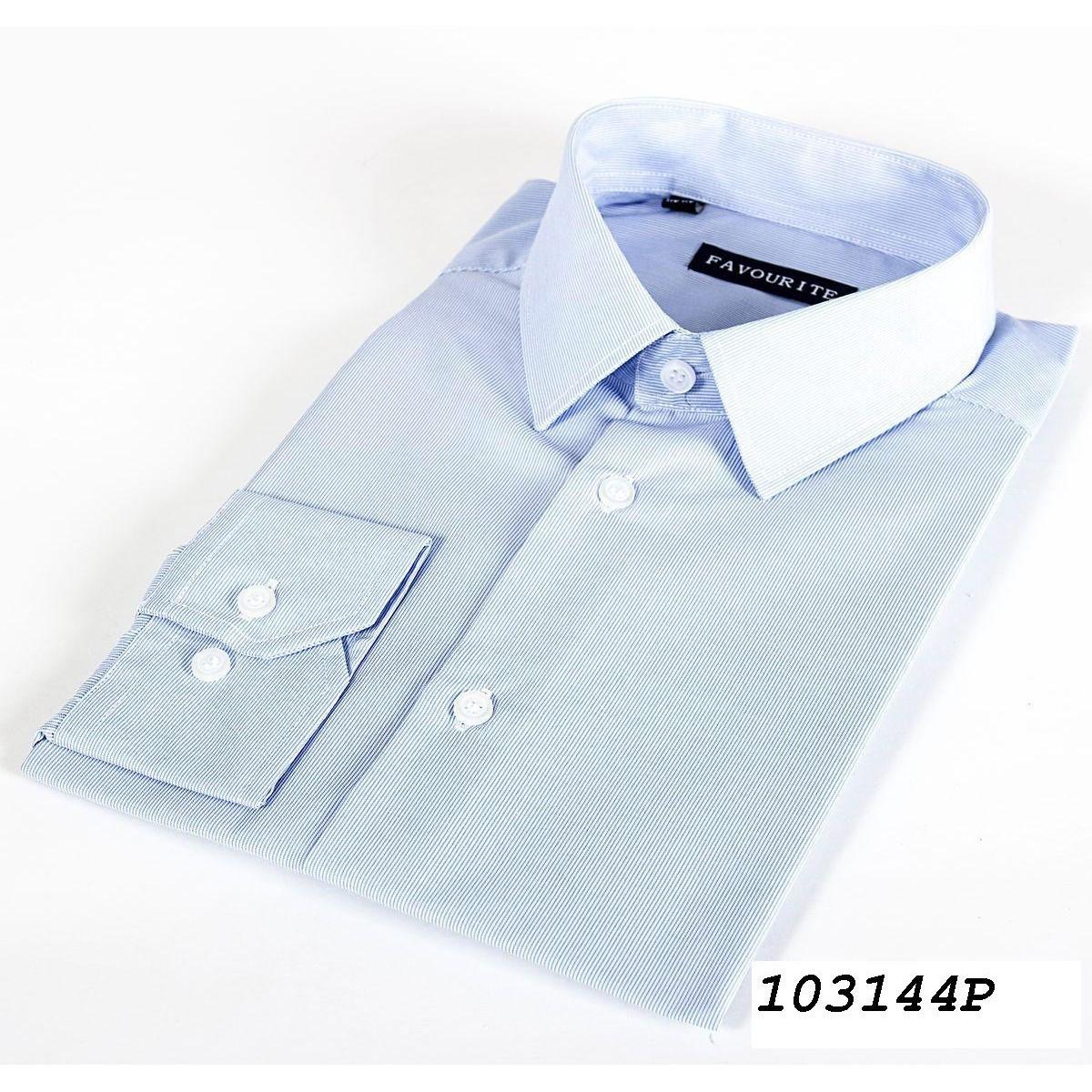 Сорочка подростковая, длинный рукав, голубой/полоска. Артикул: 103144p
