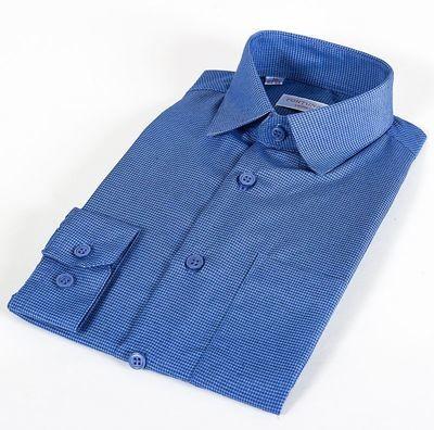 Сорочка мальчик, длинный рукав, синий/клетка. Артикул: 408051d