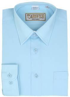 Сорочка мальчик, длинный рукав, приталенная, голубой. Артикул: Aquarius slim
