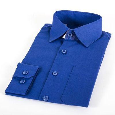 Сорочка мальчик, длинный рукав, ярко синий. Артикул: DF0402d