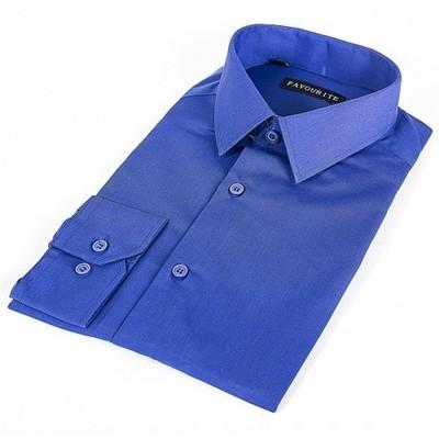Сорочка подростковая, длинный рукав, т.синяя. Артикул: DF0504p
