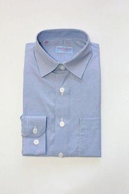 Сорочка мальчик, длинный рукав, приталенная, голубой/полоска. Артикул: DL00C83BN110DFR_SL