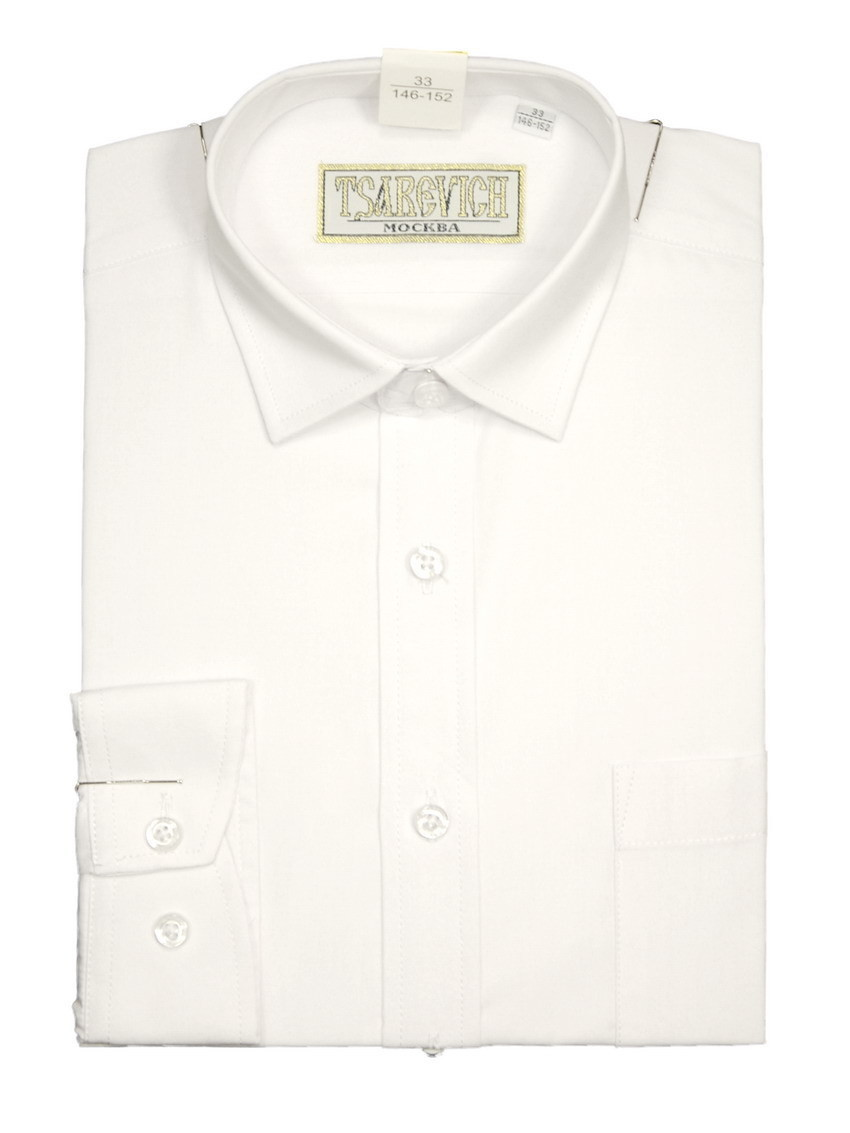 Сорочка мальчик, длинный рукав, приталенная, белый. Артикул: PT2000_Slim