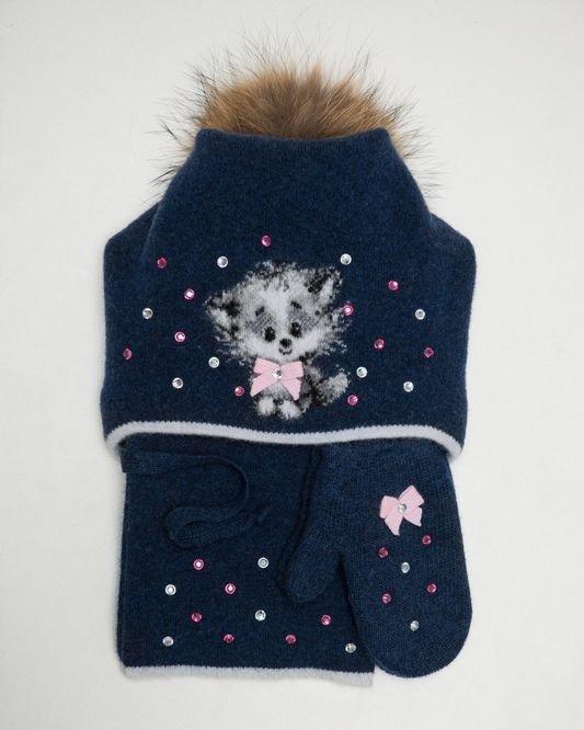 Комплект для девочки(шапка+шарф+варежки)