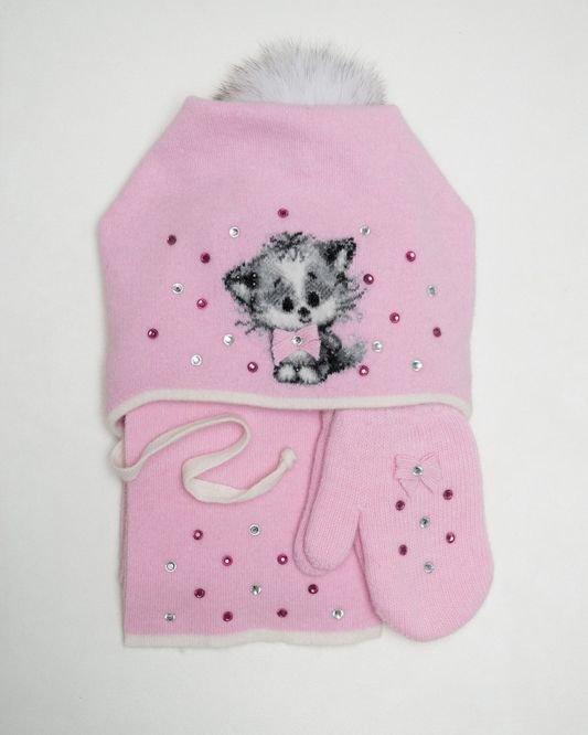Комплект для девочки(шапка+шарф+варежки) DSDD31-21-41335