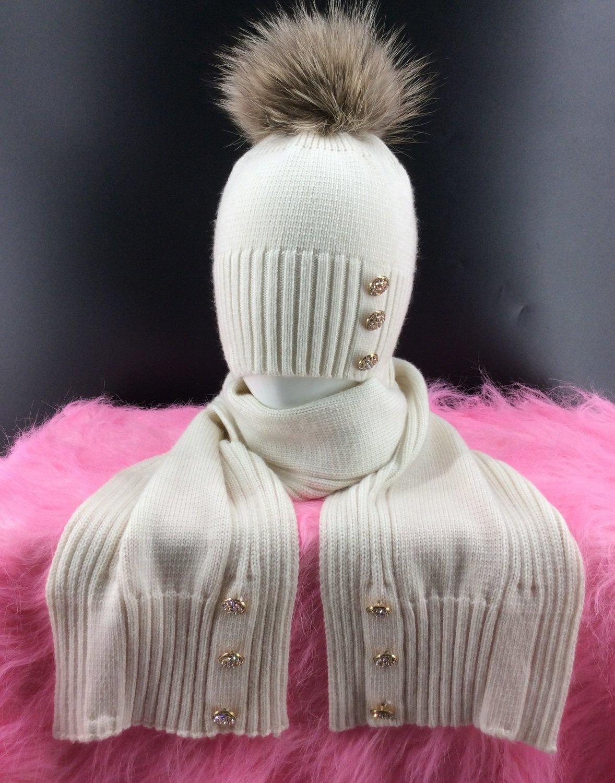 Комплект шапка + шарф для девочки