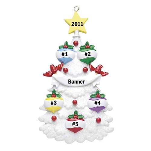 White Christmas Tree Family of 5