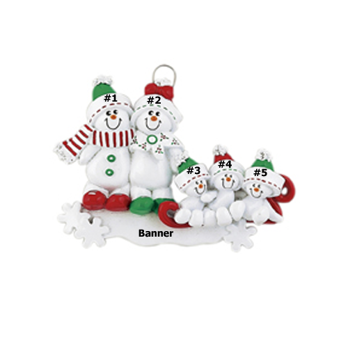Sweet Snowman Family of 5