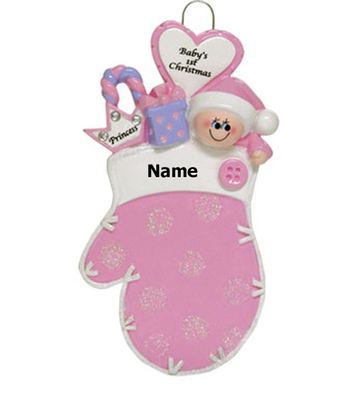 Baby's 1st Christmas Pink Mitten