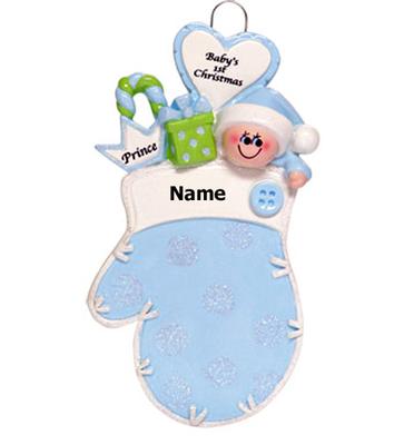 Baby's 1st Christmas Blue Mitten