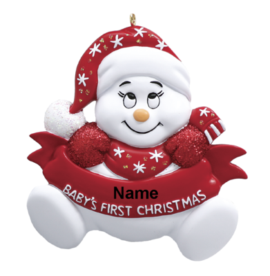 Red 1st Christmas Snowman Baby