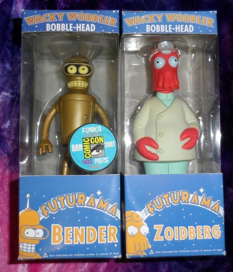 Futurama Bobble-Heads Set : Golden Bender & Zoidberg