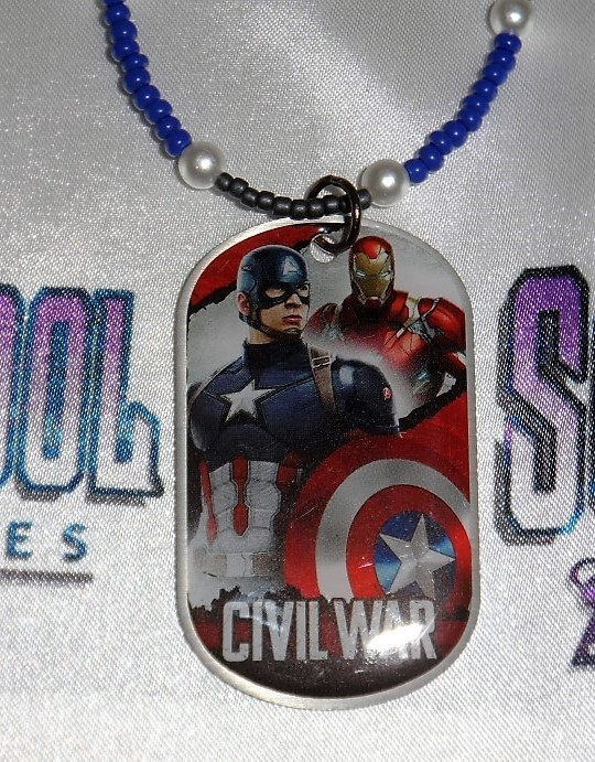 Captain America : Civil War Dog Tag Beaded Necklace