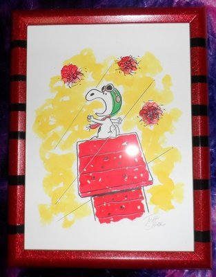 Snoopy as the Flying Ace -Art Print w/Frame