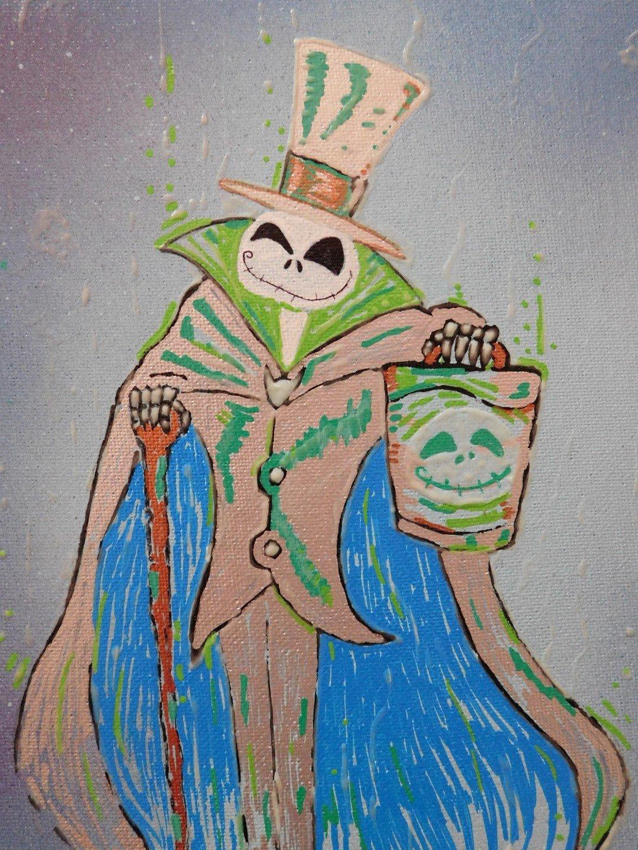 Hatbox Skellington Painting