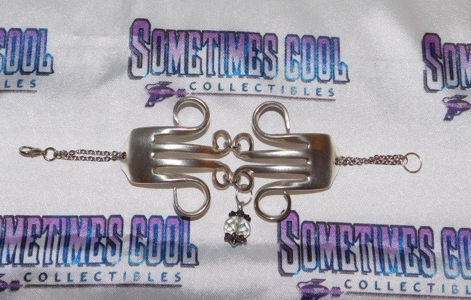 Fork Bracelet with Crystal Dangle
