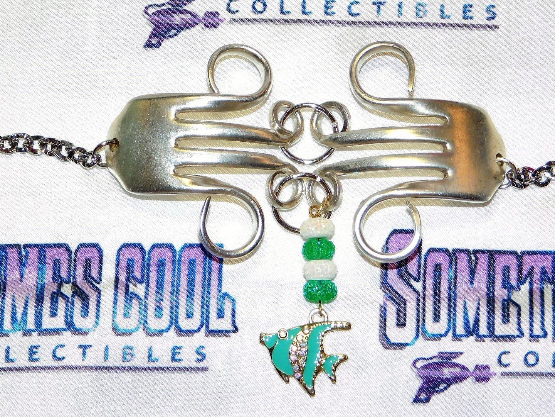 Fork Bracelet with Fish Dangle