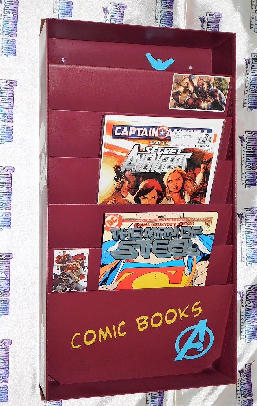 Comic Book Wall Rack (Burgundy/Maroon)