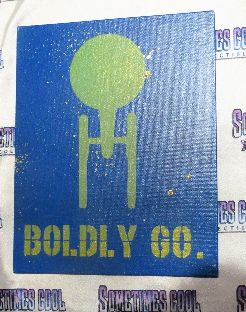 """BOLDLY GO"" : STAR TREK painting (Greens & Glow)"