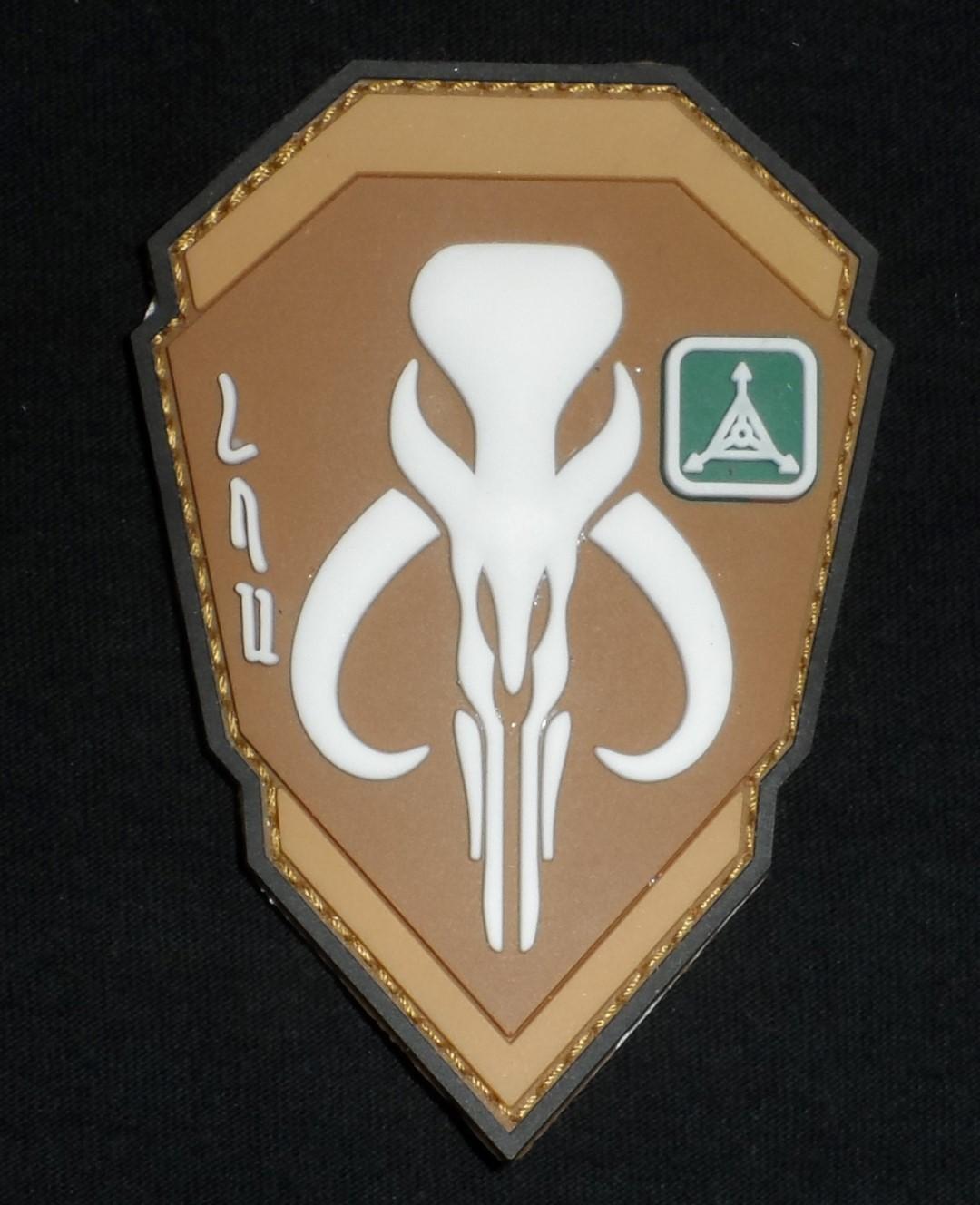 Mandalorian Logo Patch - White/Tan