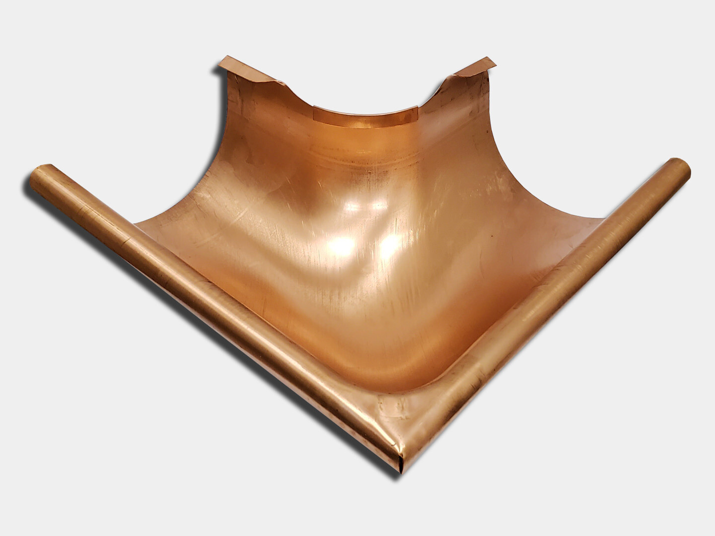Seamless Euro Bead Half Round Copper Gutter Outside Miter