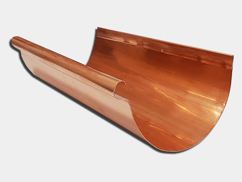Copper 16oz. Reverse Bead Half Round Gutter