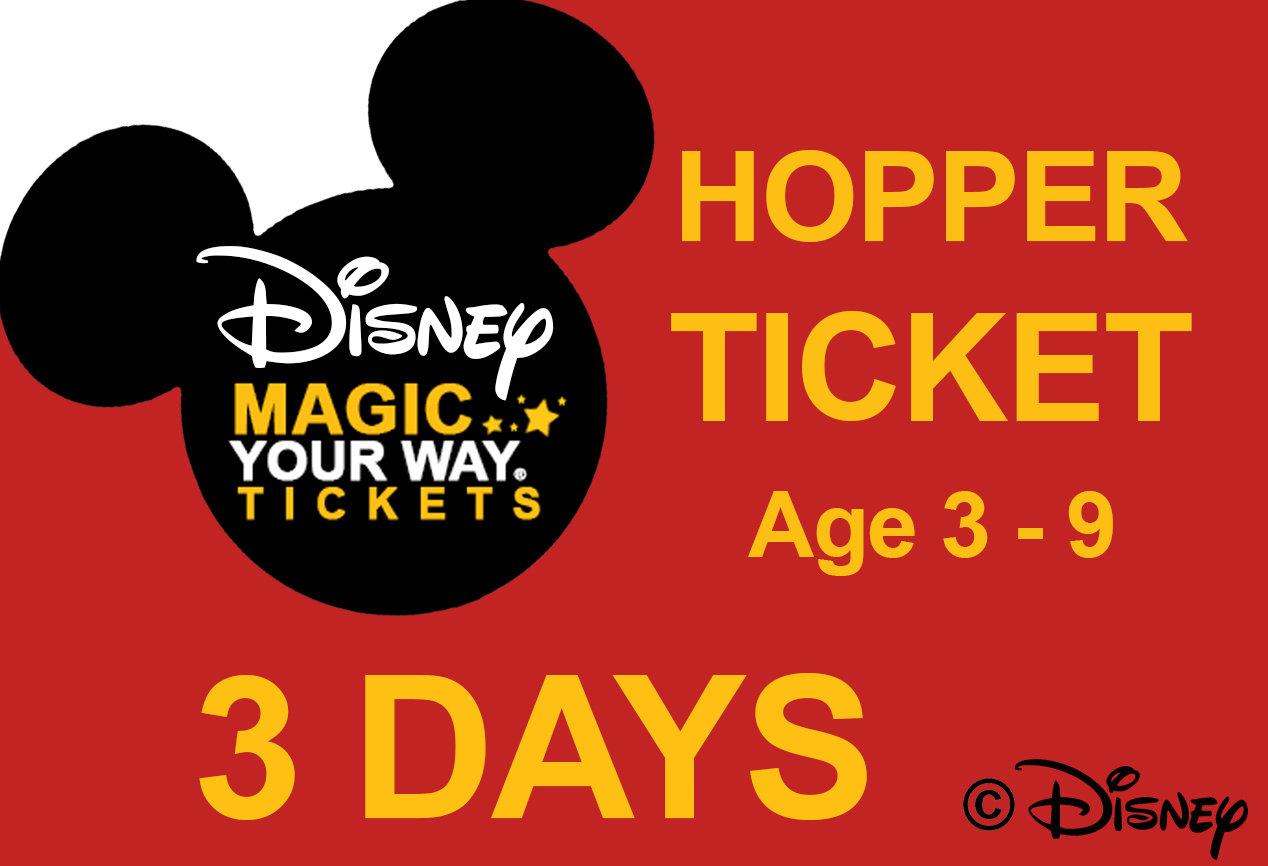 3 Days Park Hopper Ticket - Age 3-9