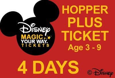 4 Days Park Hopper Plus Ticket - Age 3-9