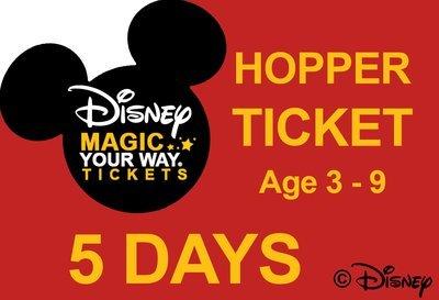 5 Days Park Hopper Ticket - Age 3-9