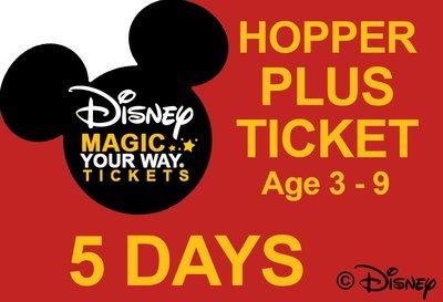 5 Days Park Hopper Plus Ticket - Age 3-9