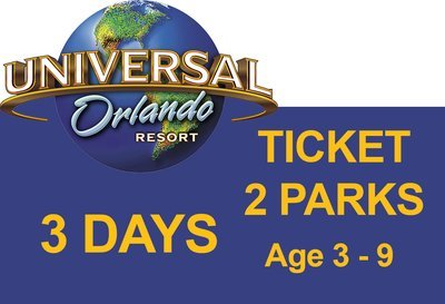 Universal 2-Park to Park 3 (three) days Ticket - Age 3-9