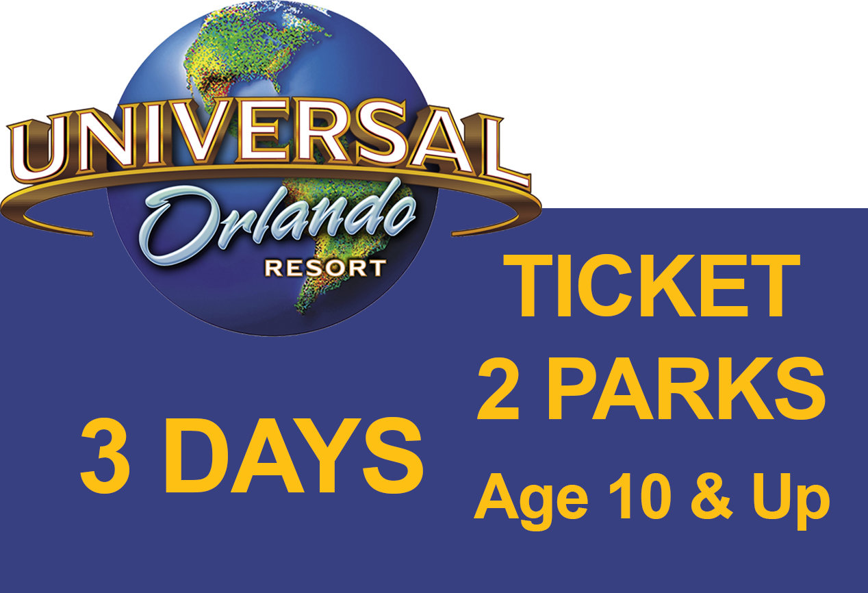 Universal 2-Park to Park 3 (three) days Ticket - Age 10 & Up