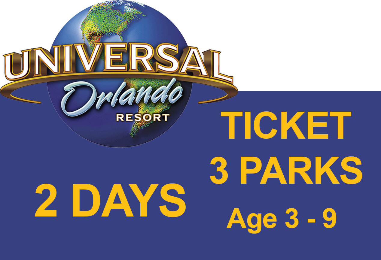 Universal 3-Park to Park 2 (two) days Ticket - Age 3-9