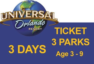 Universal 3-Park to Park 3 (three) days Ticket - Age 3-9