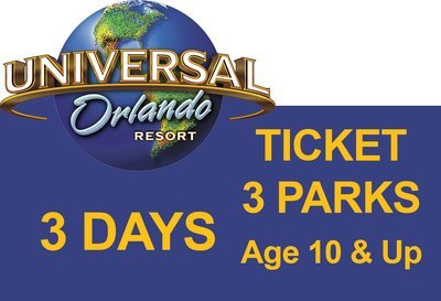 Universal 3-Park to Park 3 (three) days Ticket - Age 10 & Up