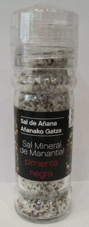 Molinillo de Sal mineral de Manantial con Pimienta Negra, 75 g - Gourmet by Beites