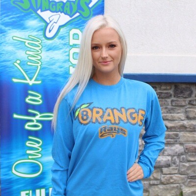 Orange Distressed LS T-shirt Blue