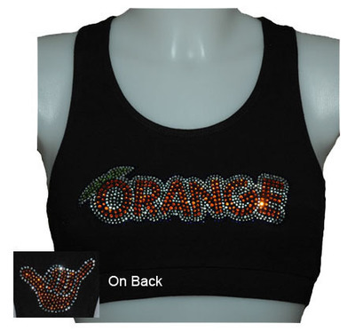 Orange Rhinestone Black Sports Bra