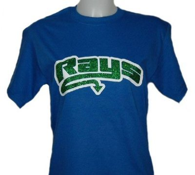 Blue T-shirt with Green Glitter Rays