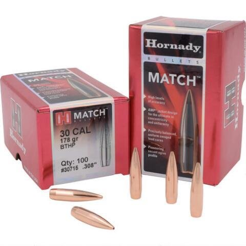 Hornady Match Bullets 30 Caliber (308 Diameter) 178 Grain Hollow Point Boat Tail - 100/BOX