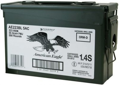 Federal American Eagle .223 Rem Rifle Ammunition, 55 gr. FMJ, 500 ROUND AMMO CAN