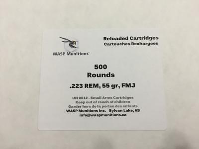 WASP .223 REM 55gr FMJ Remanufactured ammunition Bulk Packaged - 500