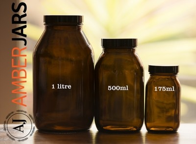24 x 1 Litre Wide Mouth Bottle with Black Wadded Lid
