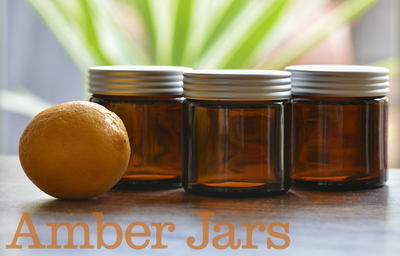 120ml Glass Amber Jars with Grooved Aluminium Lid, creams candles spices