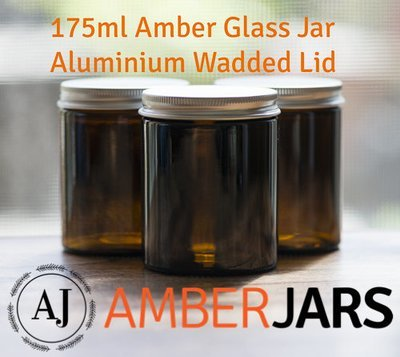 175ml Glass Amber Jars with Wadded ALUMINIUM Lid.