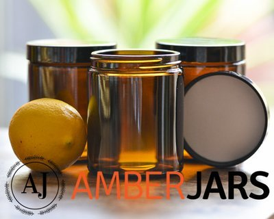 175ml Glass Amber Jars with Black Wadded Lid. DIY Cosmetics Candles Spice