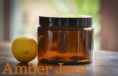30 x 500ml Glass Amber Jars with Black Wadded Lid.